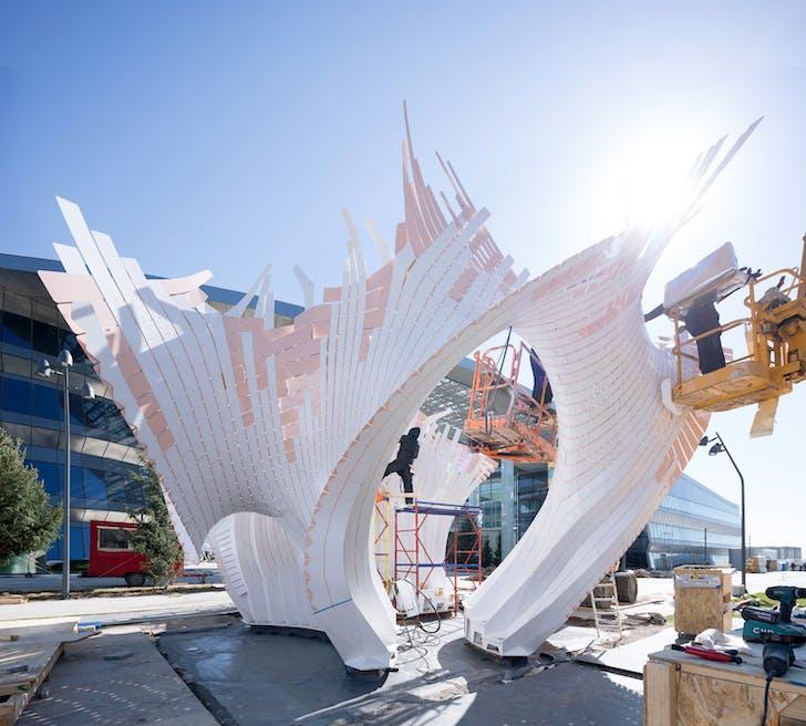 Minima | Maxima, Expo 2017 Astana, Kazakhstan, by Marc Fornes / TheVeryMany. Image (construction phase) © NAARO