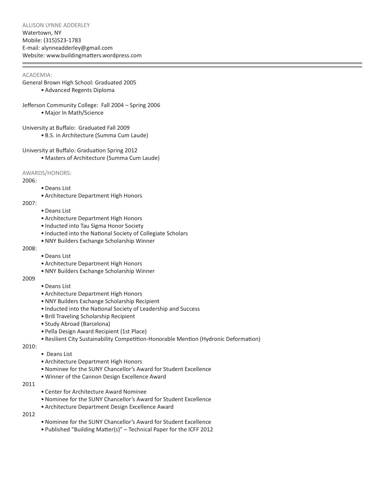 resume National Society Of Leadership And Success Resume resume allison adderley archinect page 1