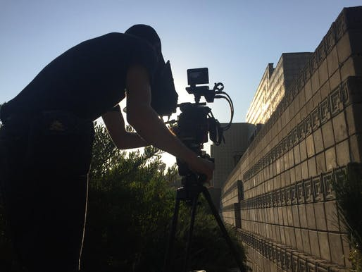 "Travis LaBella, director of photography for ""That Far Corner,"" at Frank Lloyd Wright's Ennis House in Los Feliz. Image: Jacqueline Reyno / KCET."