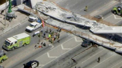 FIU bridge collapse in Miami, FL. Image: CBS4.