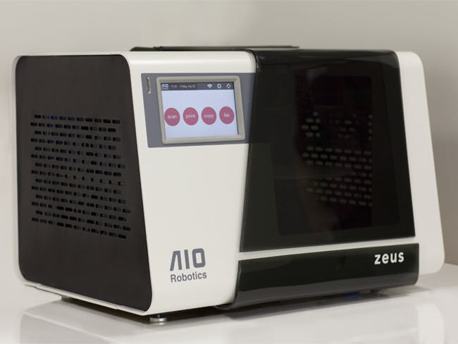 The ZEUS All-in-One 3D printer by AIO Robotics. Image from the ZEUS Kickstarter