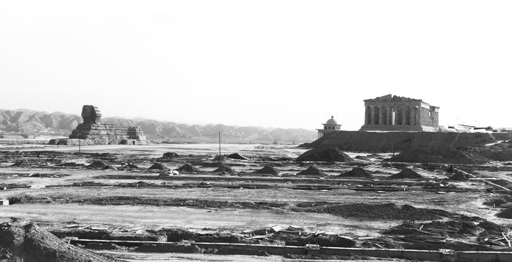 The Sphinx and the Parthenon, Lanzhou New Area, China. © Otis Sloan Brittain