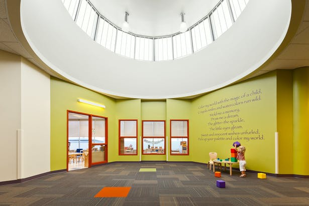 modern childcare facility for 215 students + staff. early childhood development design program. vibrant design | sustainable materials | healthy interiors. 34,131 sq ft.