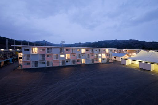 Onagawa Container Temporary Housing, Miyagi, Japan, 2011. © hiroyuki hirai. Courtesy of Shigeru Ban Architects.
