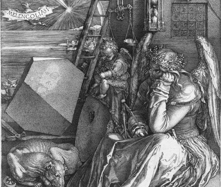 In particular, Inal and Warwas' installation referenced the enigmatic geometric form found in Albrect Dürer's Melancholia I. Via Wikipedia.