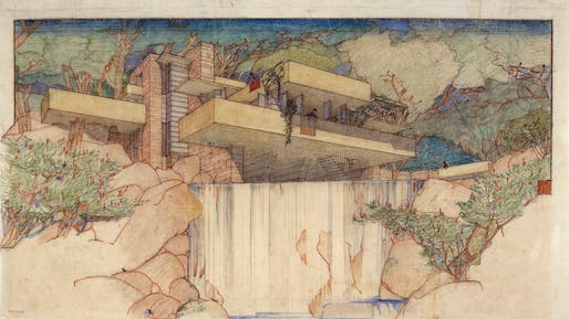 """Fallingwater Edgar J. Kaufmann House, Mill Run, PA. 1934-37. """"The Frank Lloyd Wright Foundation Archives (The Museum of Modern Art 