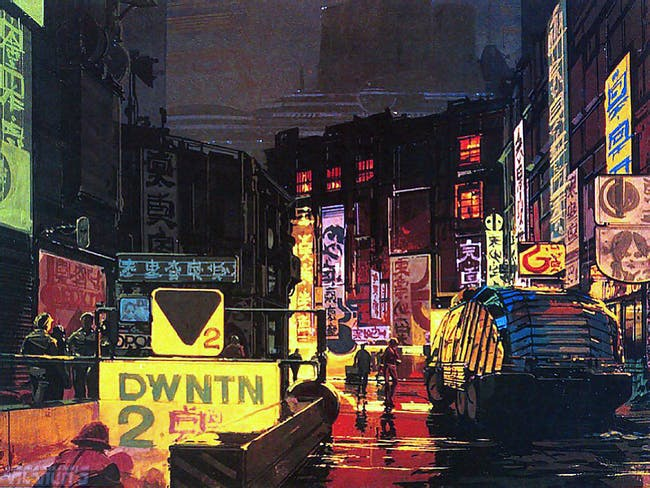 concept art from 'Bladerunner' (1982), courtesy of Marco Antonio Cruz.