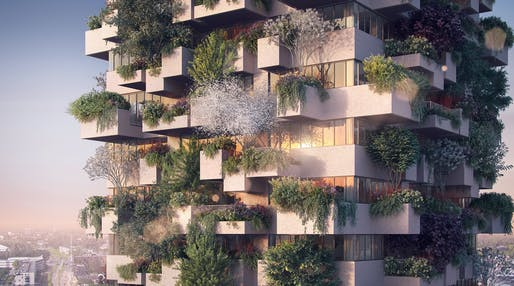 Trudo Vertical Forest by Stefano Boeri Architetti, located in Eindhoven, NL. Image: Stefano Boeri Architetti.