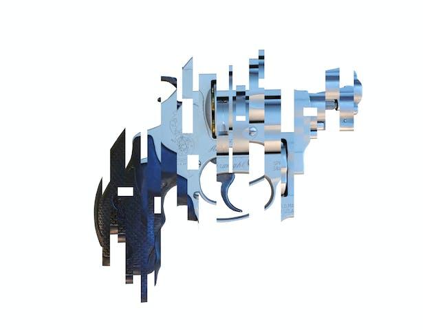Deconstructed 38 Special pistol
