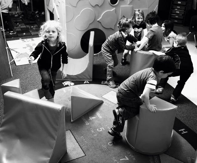 Play shapes are flipped and combined to produce a variety of play scenarios. Photograph by Matthew Messner.