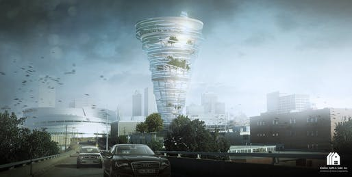 The Tulsa Tornado Tower by KKT architects. Image courtesy of Kinslow, Keith & Todd Architects Inc.