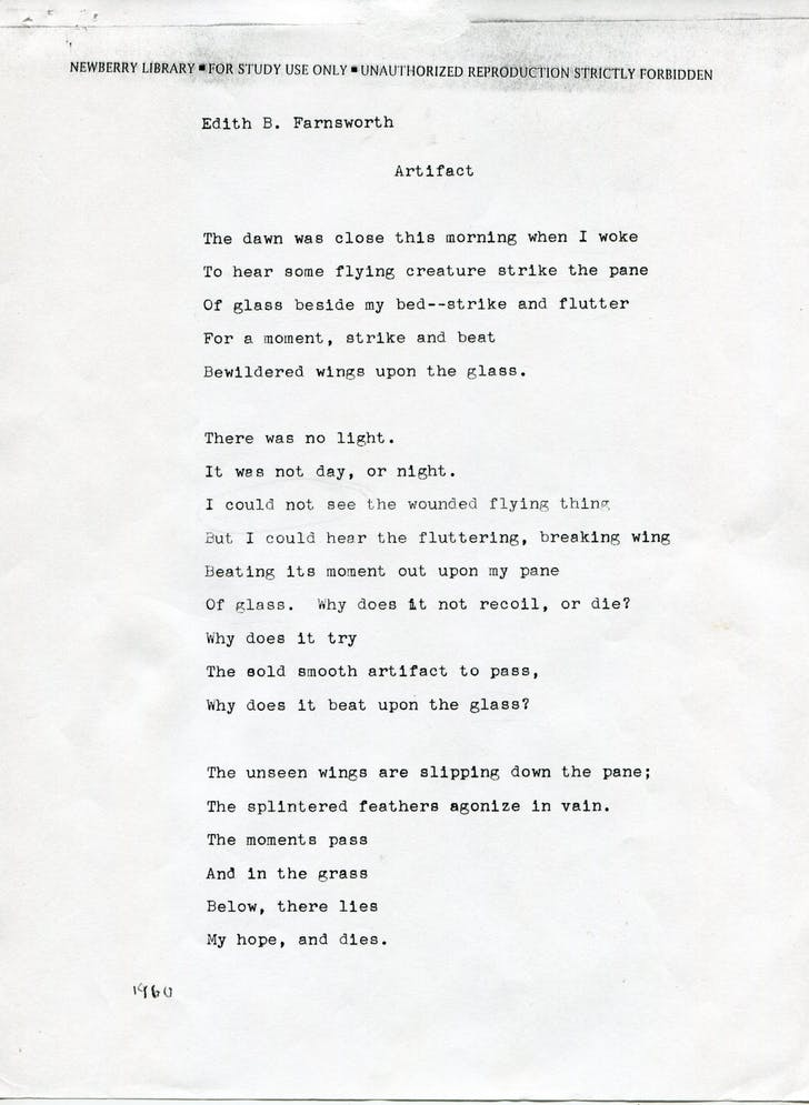 "Edith B. Farnsworth, ""Artifact,"" unpublished poem. Courtesy and copyright of Newberry Library, Chicago, Illinois."