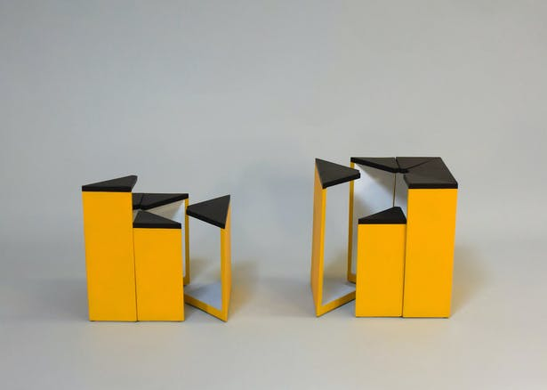 Two more tall and short segments separate from their boxes to begin forming other kinds of spaces.