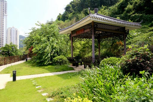 Small pavilion in a larger Pubang Landscape Architecture project in Guangzhou. (Image via pblandscape.com)