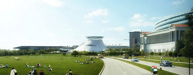 Another view of the proposed museum. Credit: Lucas Museum of Narrative Art