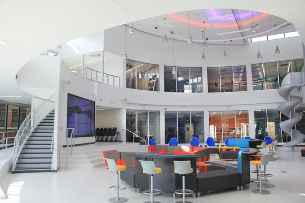 Overview of Hub space, presentation area