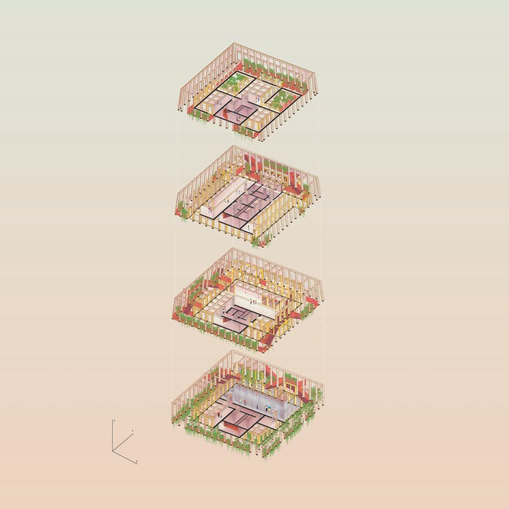 An illustration shows sections of Lali-Gurans. Drawing courtesy of MOS Architects
