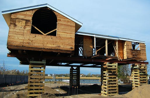 a Westhampton Beach home in the process of being permanently elevated - Credit Charles Lane