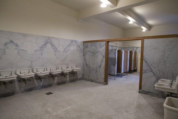 A bathroom in the Armory. Image courtesy Kink.com