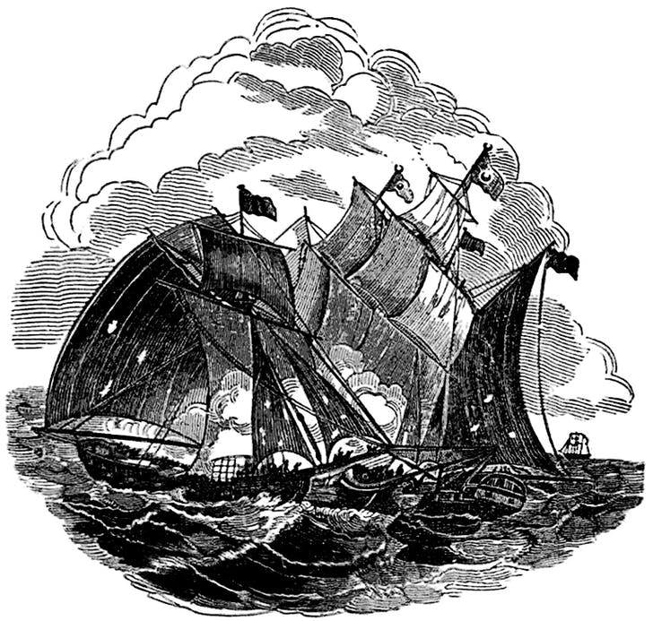 Captain (Henry) Every/Avery engaging the Great Mogul's Ship depicted in The Pirates Own Book, by Charles Ellms (1837)