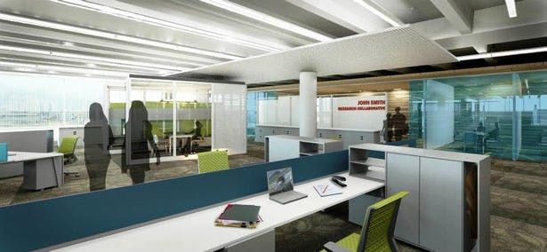 Open plan work area with glass walled faculty offices and open plan workstations for research associates and graduate student techs.