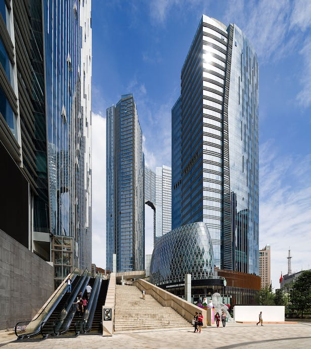 Evergrande Huazhi Plaza, Chengdu, China, by Aedas - Southern entrance plaza on Tidu Road