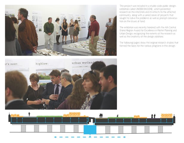 Top and Middle: Images of the studio's public design exhibition. Bottom: Diagrammatic section showing the layering of various programs and functions.