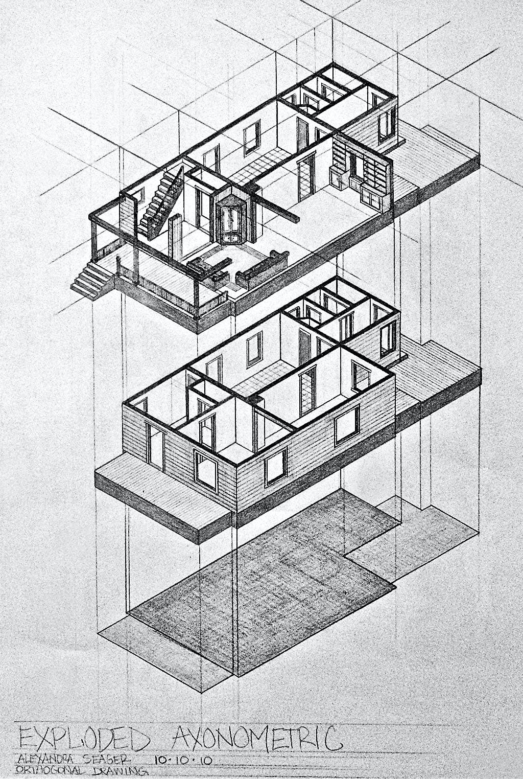 MY HOUSE  PLAN  SECTIONS   AXON  Fall 2010    Alexandra Seager   Archinect