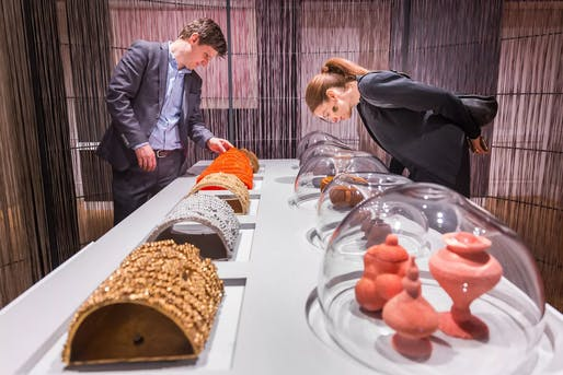 Visitors interact with Loopy Tiles and Emerging Objects, by architects Ronald Rael and Virginia San Fratello, currently on view in 'The Senses: Design Beyond Vision' at Cooper Hewitt, Smithsonian Design Museum. Photo: Scott Rudd