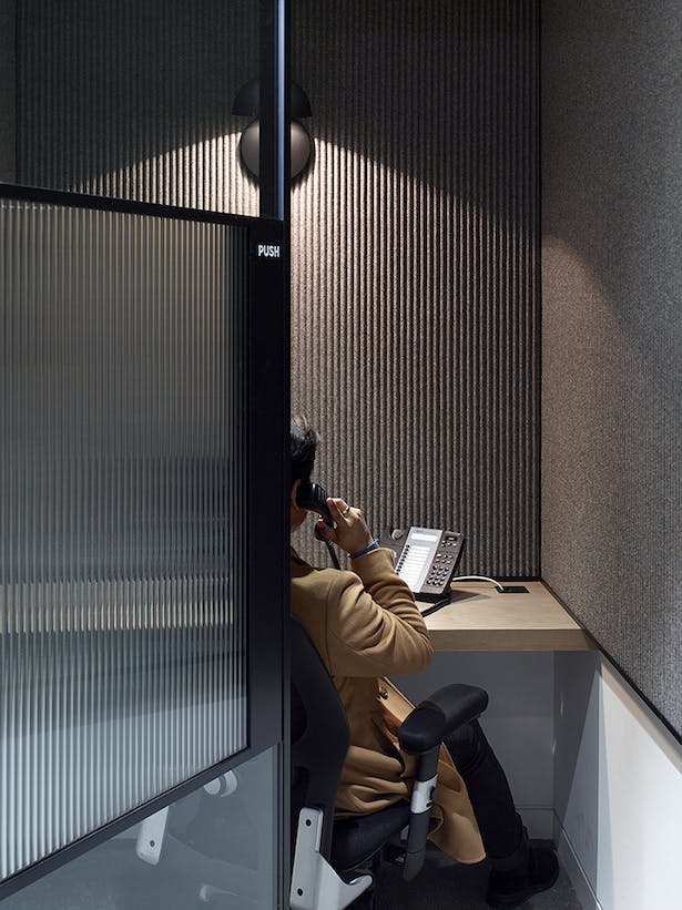 'Corduroy' glass is used for doors and privacy within booths
