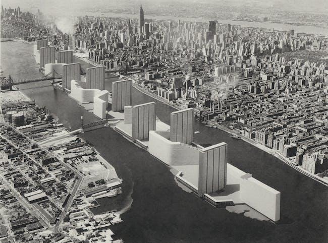 Victor Gruen's 'Welfare Island' (1961). Image via 'Never Built New York'