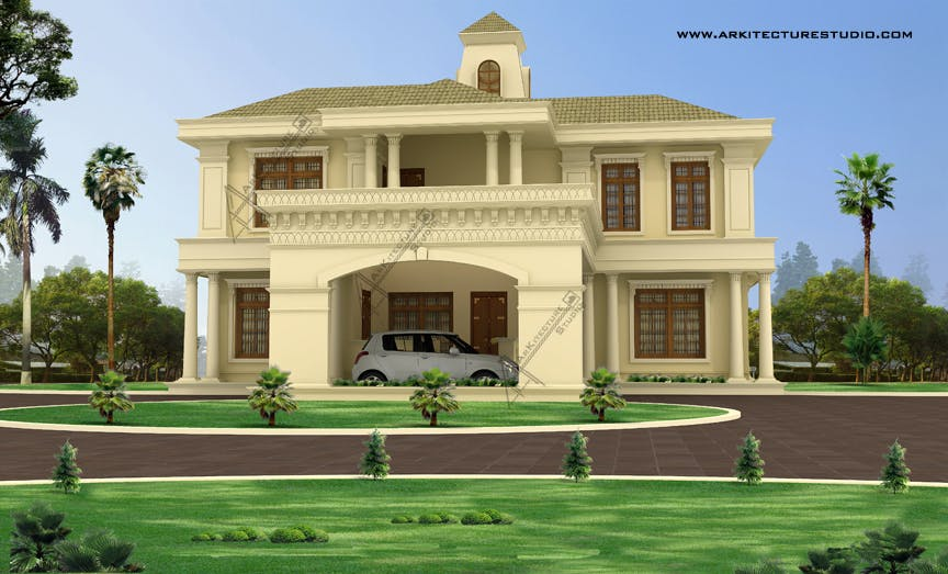 Kerala home design luxury homes arkitecture studio for Colonial style homes in kerala