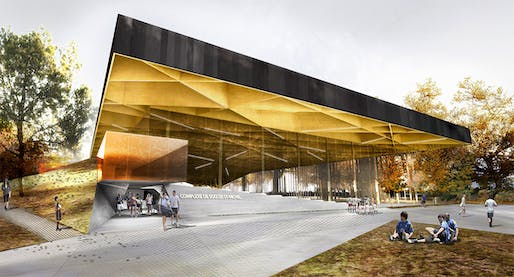 Visualization of the new Montreal Indoor Soccer Center at the Saint-Michel Environmental Complex (SMEC) by Saucier + Perrotte and Hughes Condon Marler Architects