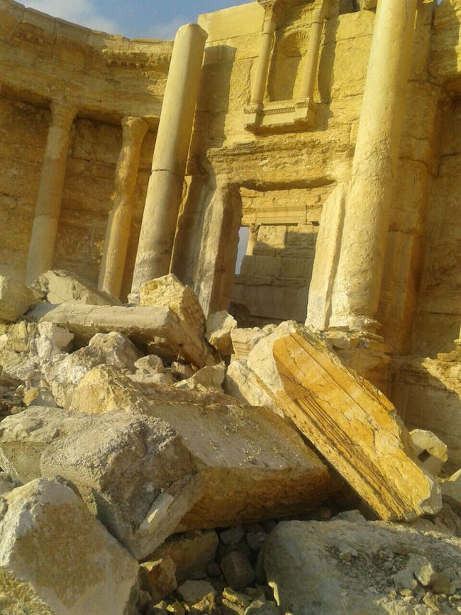 The state of destruction at the Roman Theater on March 2, 2017. Photo via the Syrian Directorate-General of Antiquities & Museums.