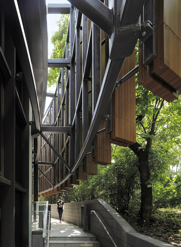 Vertical sun-shading fins as metaphor of surrounding tree-scape