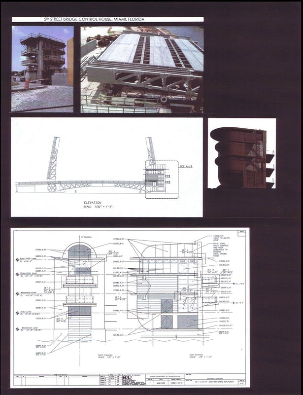 Construction site photos, Bridge Elevation with Control Tower, Control Tower North and East Elevations