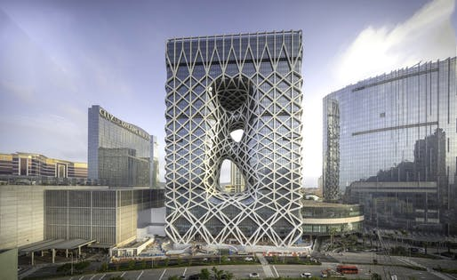 Best Tall Building, 100-199 meters + Innovation Award (parametric digital strategy) + Fire & Risk Engineering Award: Morpheus, Macau. Architectural design: Zaha Hadid Architects. Architect of Record: Leigh & Orange; CAA City Planning & Engineering Consultants Ltd. Photo © Ivan Dupont.