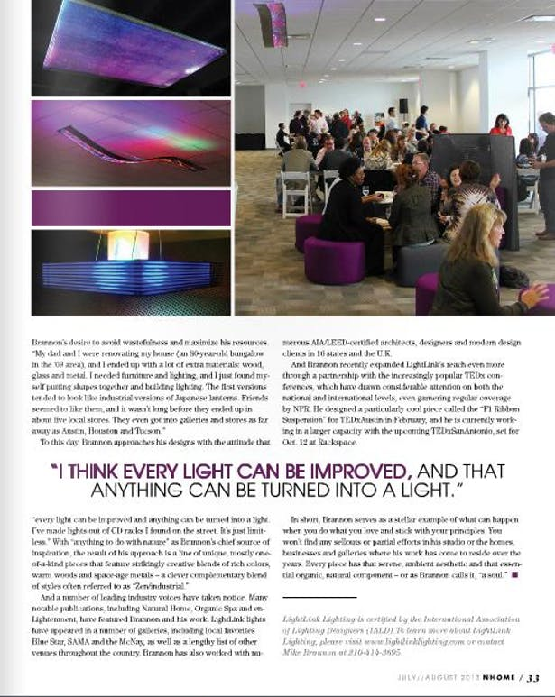 NHome Texas July 2013 - Lightlink art