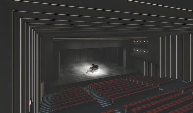 view toward the stage, 3D rendering