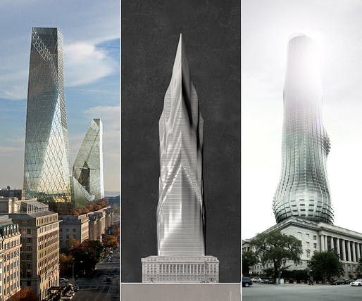 The three featured skyscraper proposals for 'TALLDC: New Monumentalism': The Iceberg, The Tiber, and The EVE.