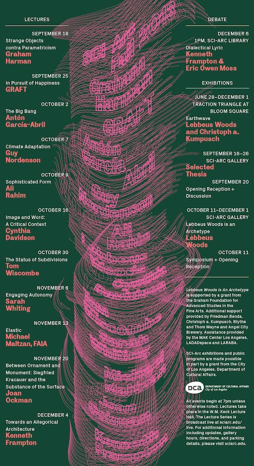 Poster for Fall Events 2013 at SCI-Arc. Image courtesy of SCI-Arc.