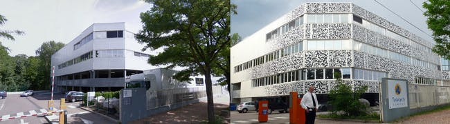 Before and After: Amora Laboratory becomes Teletech Campus. (Photo: MVRDV)