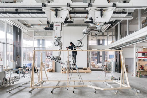 Spatial Timber Assemblies at the ETH Zurich's Robotic Fabrication Laboratory. Photo: NCCR Digital Fabrication / Roman Keller.