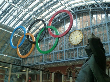 The Olympic Rings installed at St Pancras station, in advance of the 2012 London Summer Games. Photo: Wikipedia.