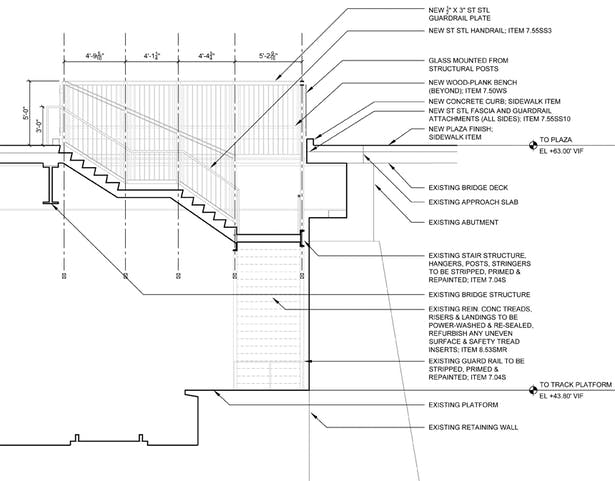 Stairwell to Metro-North Railroad Train Station Platform