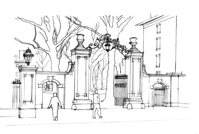 Sketch of Meyer (Class of 1879) Gate Image credit: Roger Erickson