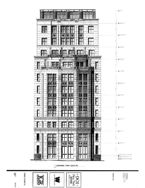 Pencil Sketches, 12 story Office Building/retail, Clark Tribble Harris and Li, 1989, Downtown Washington DC