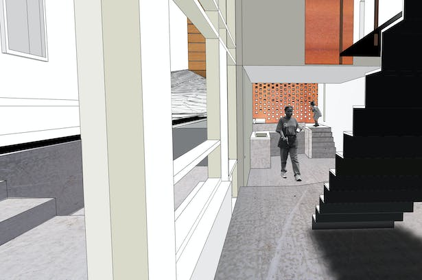 the bedroom is suspended over the modest kitchen/living space