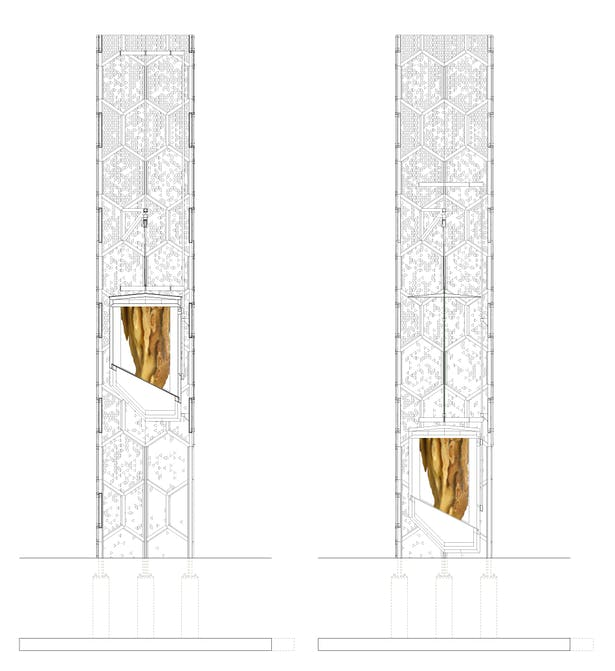 Sections of tower