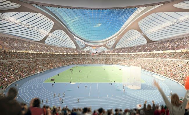 Athletics. Render © Zaha Hadid Architects.